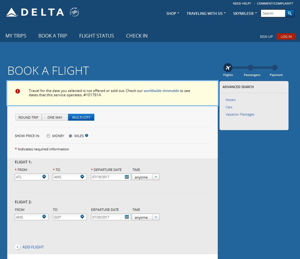 simple 2 leg serach errors out on Delta-com