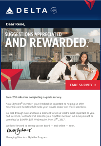 New Delta Air Lines SkyMiles survey for 250 SkyMiles - how would you vote (1)