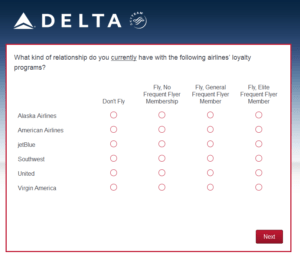 New Delta Air Lines SkyMiles survey for 250 SkyMiles - how would you vote (19)