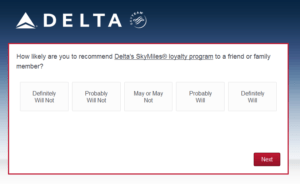 New Delta Air Lines SkyMiles survey for 250 SkyMiles - how would you vote (4)