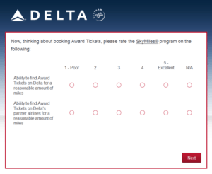 New Delta Air Lines SkyMiles survey for 250 SkyMiles - how would you vote (9)