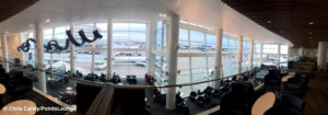 A view of the Delta Sky Club in terminal A/B at Seattle SeaTac Airport in Washington.