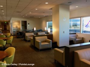 A small sitting room is seen inside The CLUB at SJC airport lounge at Norman Y. Mineta San Jose International Airport in San Jose, California.