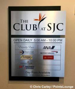A sign is displayed outside The CLUB at SJC airport lounge at Norman Y. Mineta San Jose International Airport in San Jose, California.