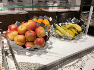 Bananas and apples are seen at the breakfast buffet inside the Delta Sky Club Austin airport lounge at Austin-Bergstrom International Airport (AUS) in Austin, Texas. Photo © Chris Carley / PointsLounge