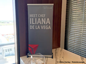 A banner invites guests to meet Chef Iliana de la Vega during the grand opening celebration of the Delta Sky Club Austin airport lounge in Austin, Texas. Photo © Chris Carley / PointsLounge