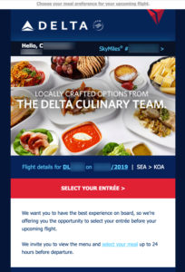 Screenshot of an email inviting a Delta passenger to pre-order a first class meal.