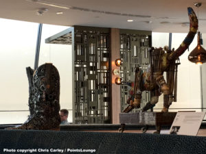 Sculptures are displayed at the Delta Sky Club Austin airport lounge at Austin-Bergstrom International Airport (AUS) in Austin, Texas. Photo © Chris Carley / PointsLounge