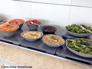 A salad bar is seen the United Club LAX airport lounge in Los Angeles, California. © Chris Carley / PointsLounge.