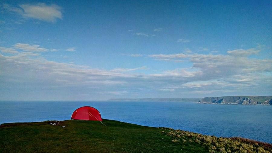 Pete's campsite overlooking the sea.
