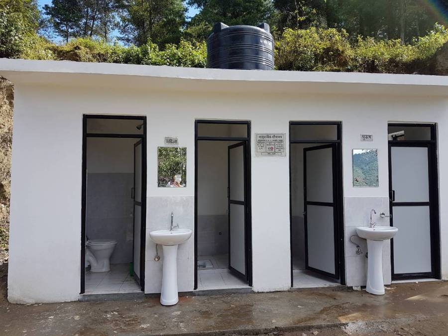 A new community toilet built in a school as part of the Water for Schools programme in Nagarkot.