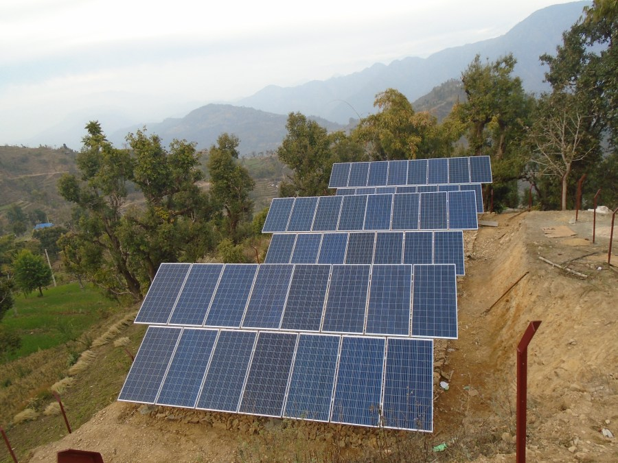 The final solar panel installation in Jugedhara.