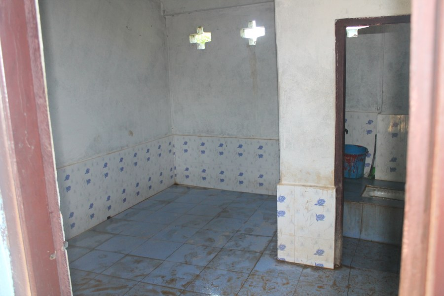Inside the poorly maintained girls toilets at Ishwori Secondary School.