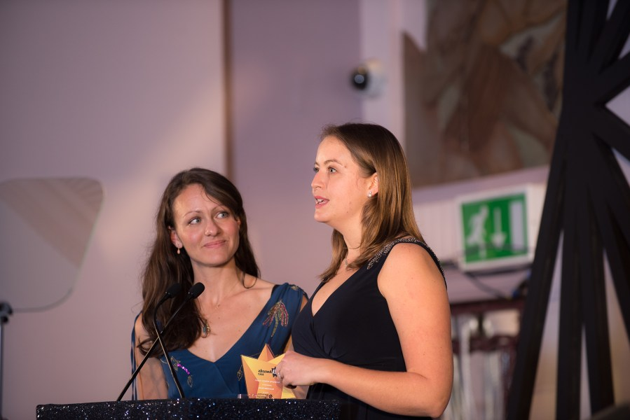 Helen and Emily accepting the Energy Institute Community Initiative Award.