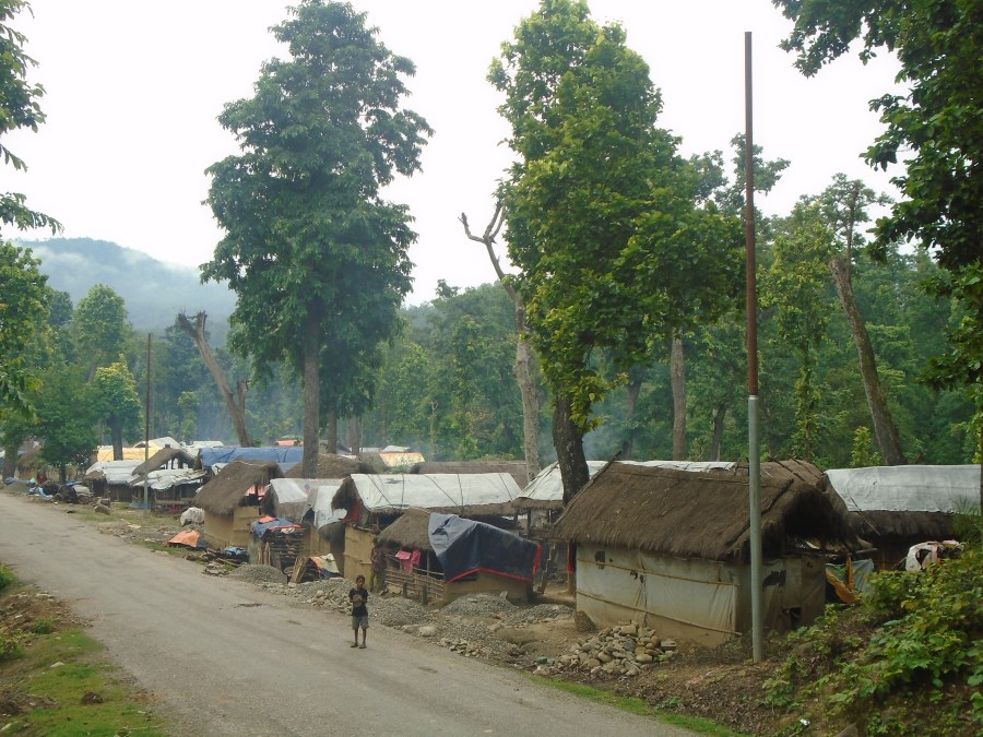 Makeshift shelters along the Jumla-Surkhet roadside