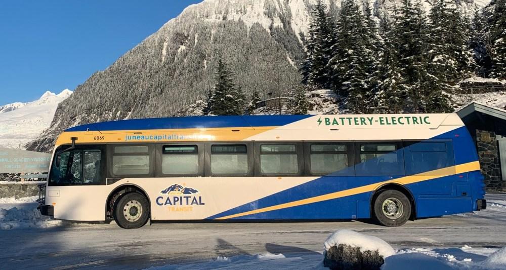 EV bus at glacier