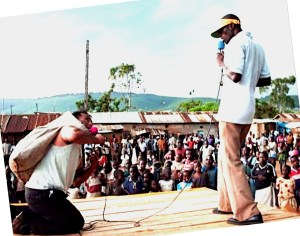 Evangelism in Kiberra, Nairobi, Kenya, Africa's largest slum of one million.