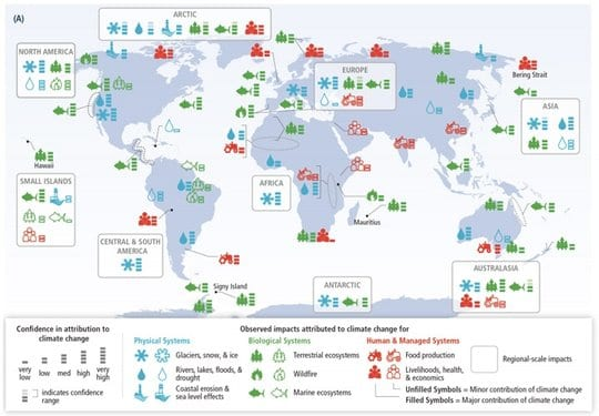Observed impacts of climate change worldwide, from the new IPCC climate impacts and adaptation summary. IPCC, CC BY-NC-ND