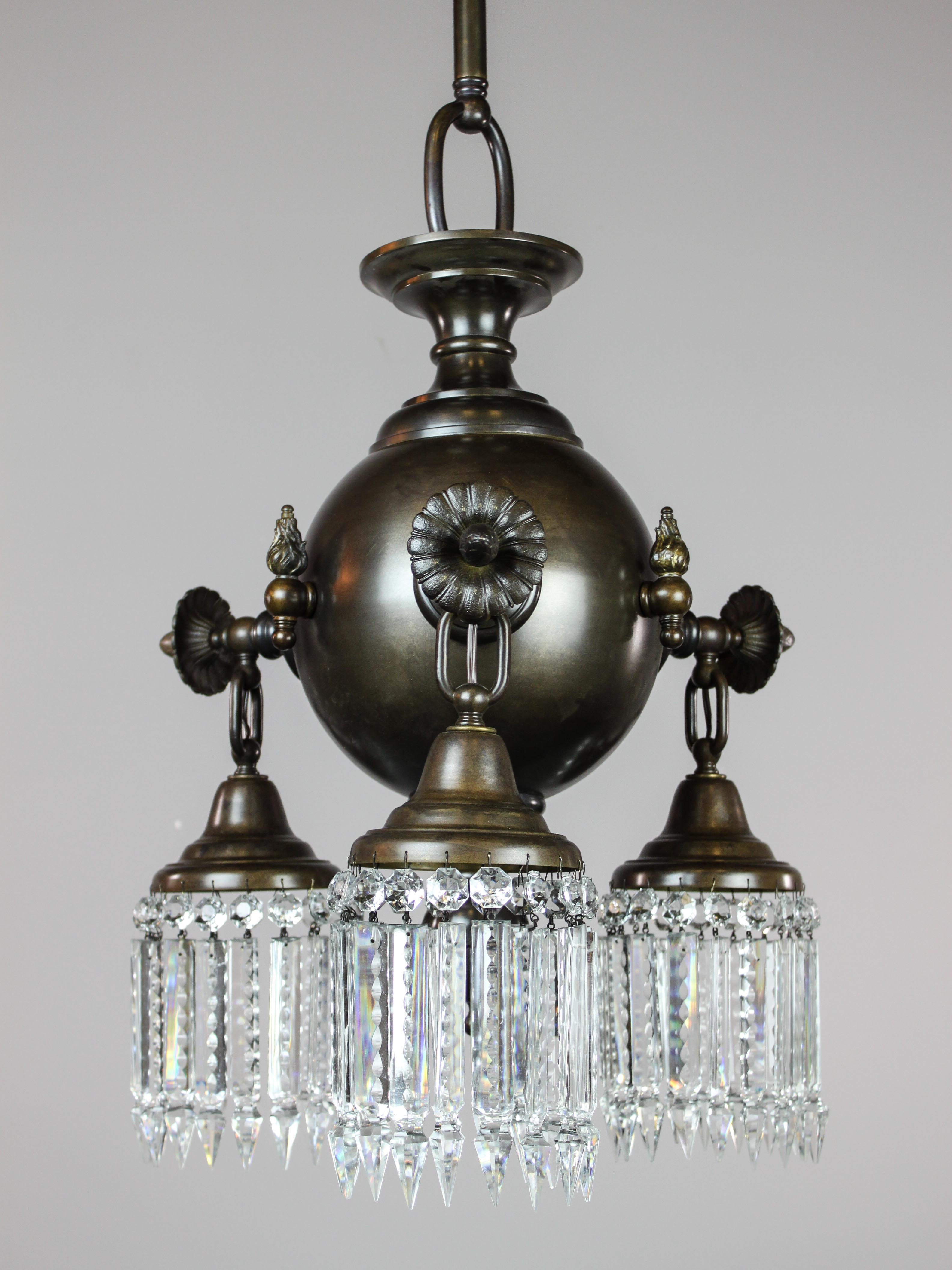 Colonial Combination Gas Electric Crystal Light Fixture