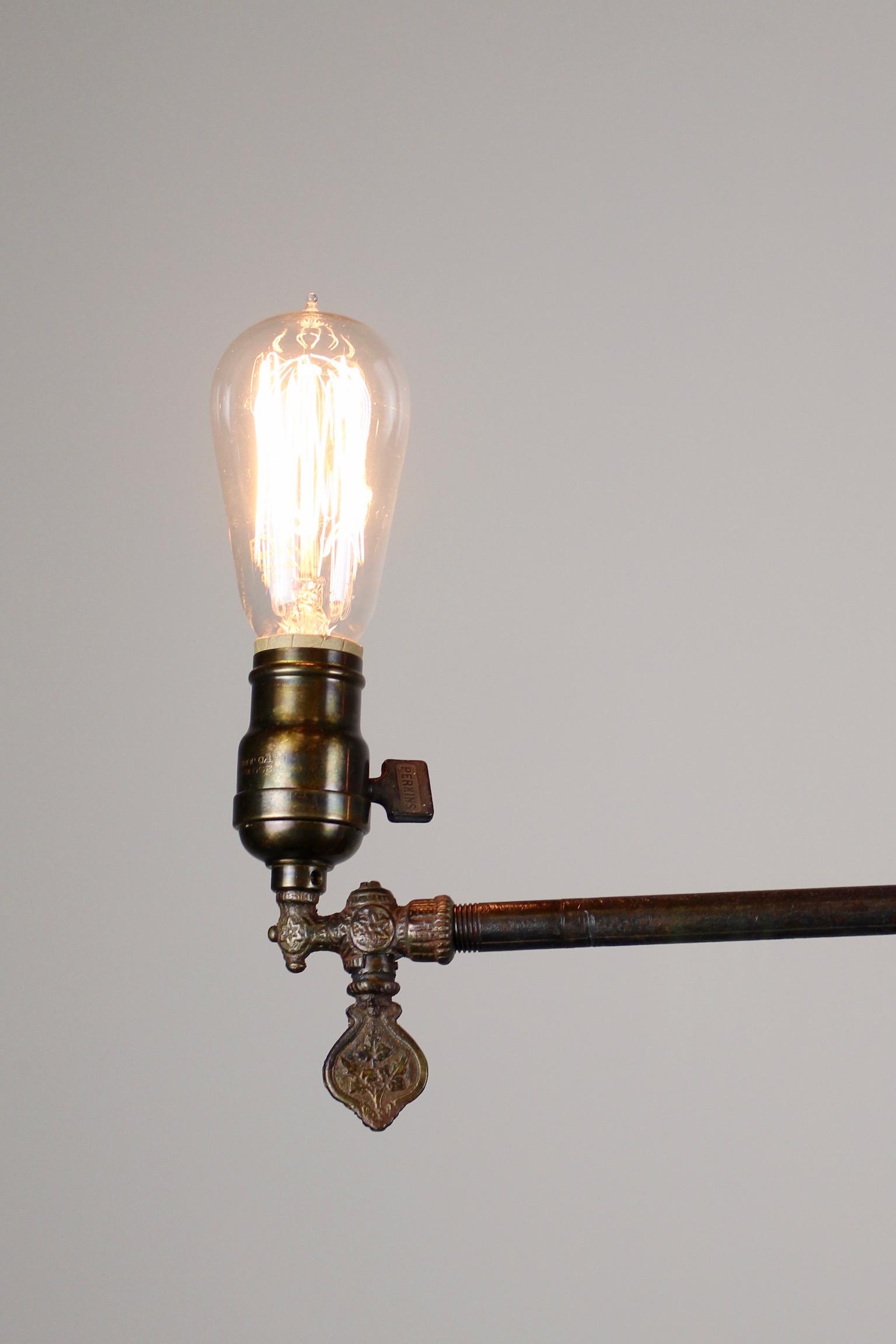 Original Industrial Gas Light Fixture Circa 1885 By Archer