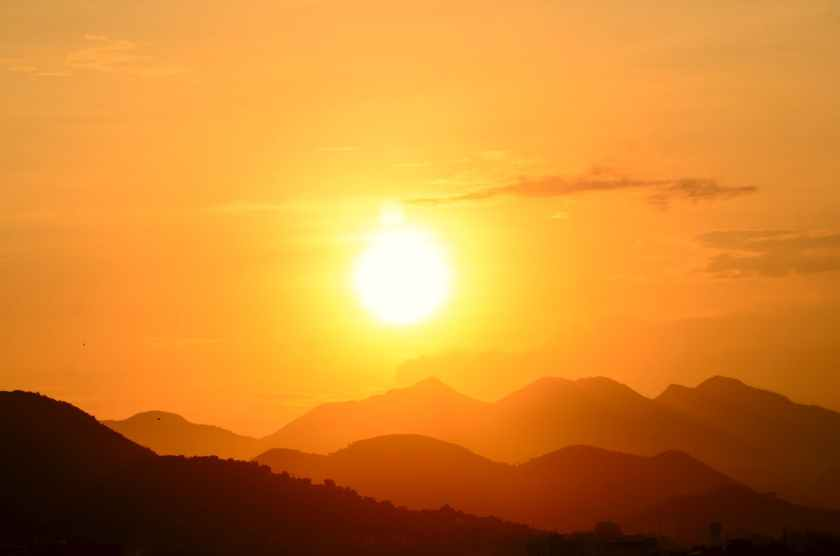 silhouette photo of a mountain
