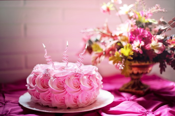 Pink Birthday Cake, Celebrate Life, Flowers