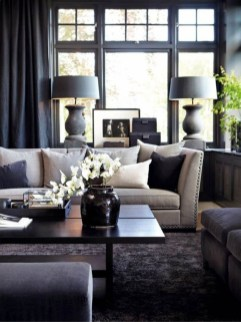 Dark Living Room Design For Home Decor 07