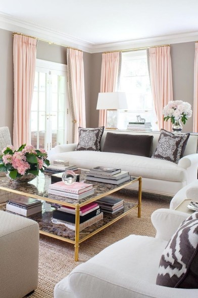 Pink And Gray Modern Living Room Decor 01