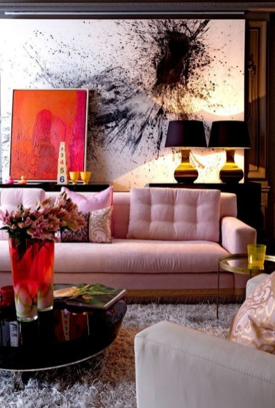 Pink And Gray Modern Living Room Decor 03