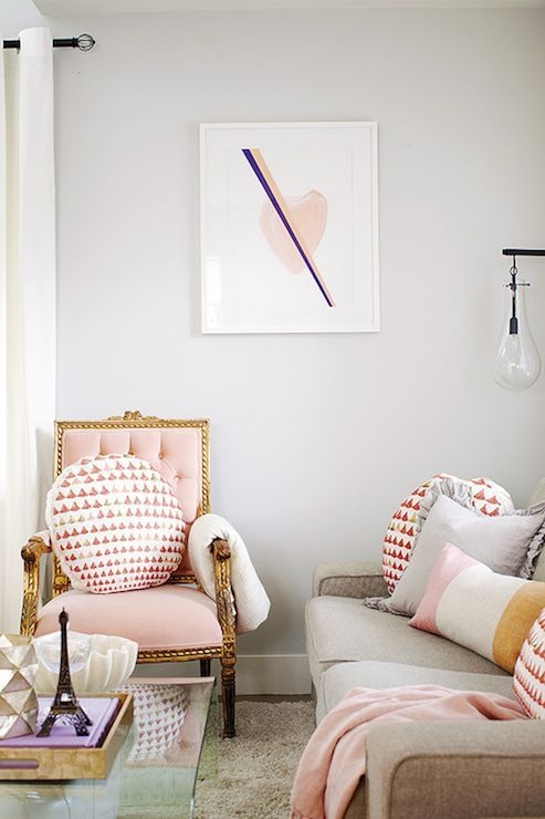 Pink And Gray Modern Living Room Decor 08