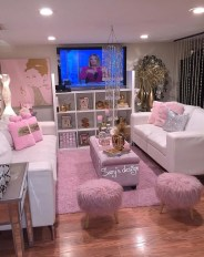 Pink And Gray Modern Living Room Decor 17