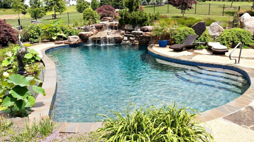 Style Swimming Pool With Natural Stone Tiles 05