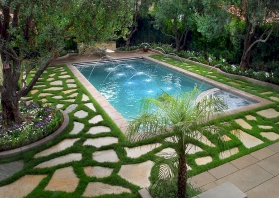 Style Swimming Pool With Natural Stone Tiles 07