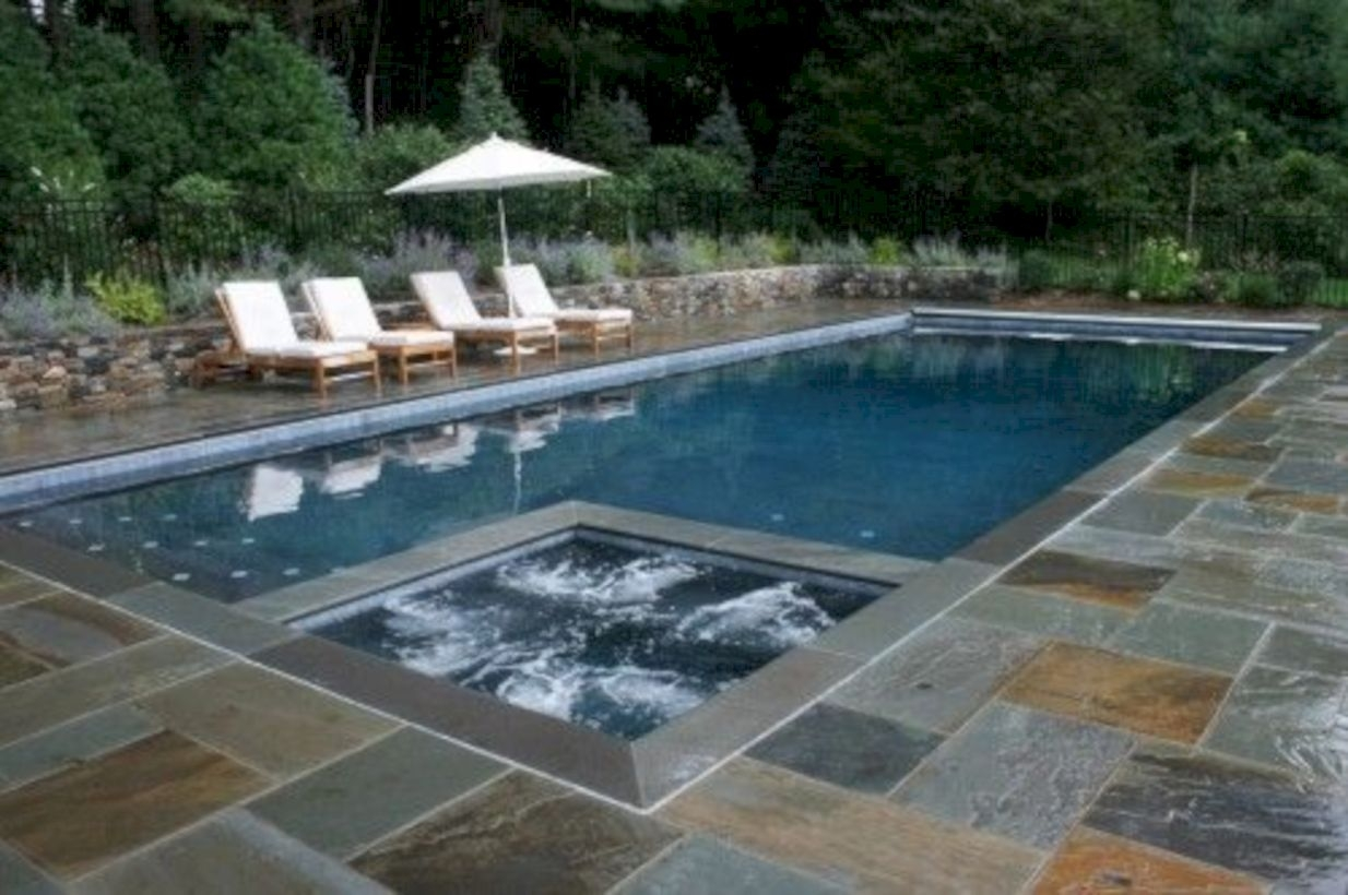 Style Swimming Pool With Natural Stone Tiles 20