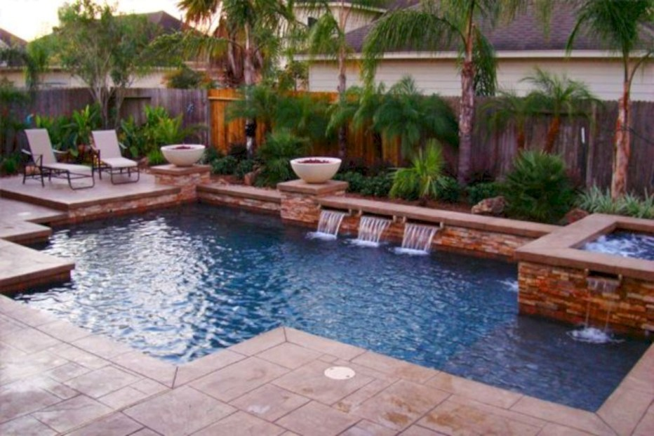 Style Swimming Pool With Natural Stone Tiles 25