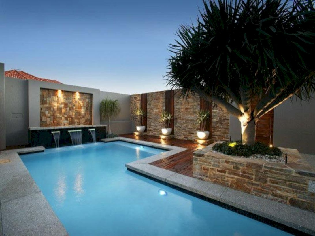 Style Swimming Pool With Natural Stone Tiles 33