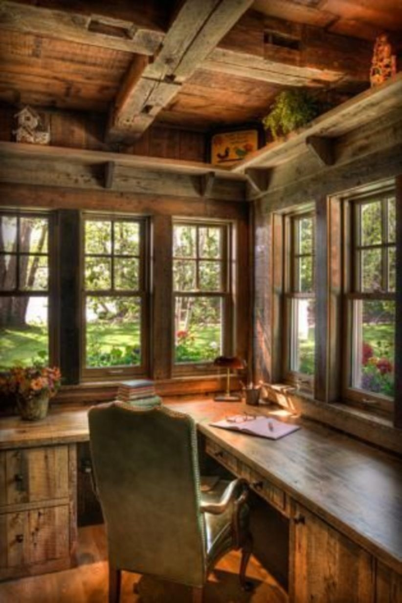44 Modern Rustic Decorating Ideas For Your Home Office 04