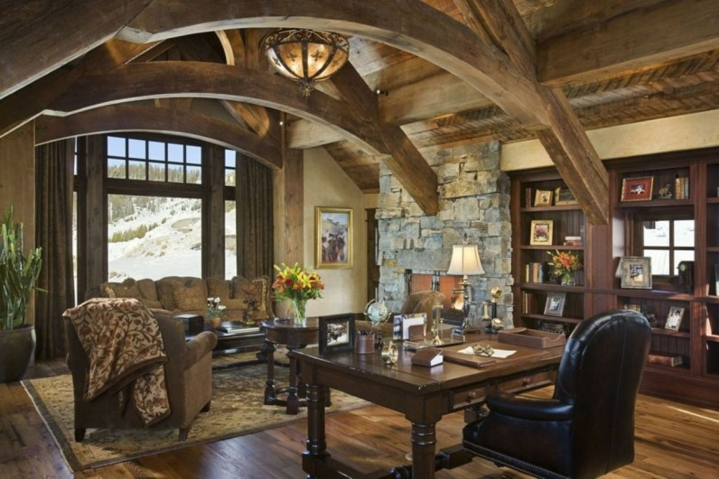 44 Modern Rustic Decorating Ideas For Your Home Office 13