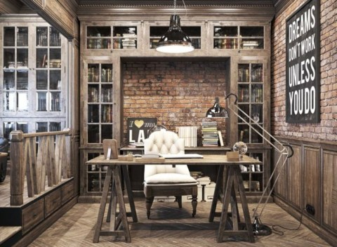 44 Modern Rustic Decorating Ideas For Your Home Office 30
