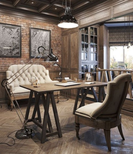44 Modern Rustic Decorating Ideas For Your Home Office 45