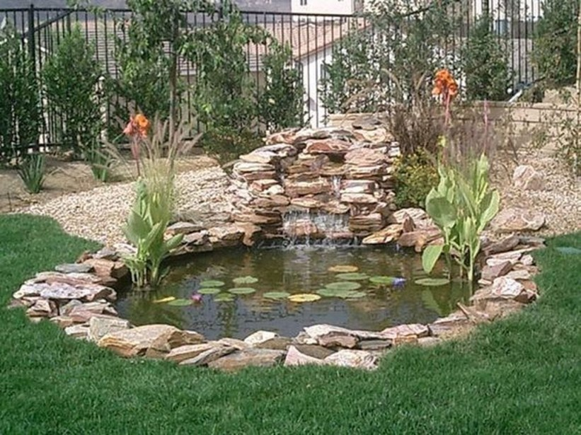 Awesome DIY Ponds Ideas With Small Waterfall 04