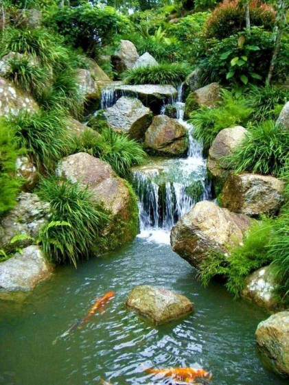 Awesome DIY Ponds Ideas With Small Waterfall 24
