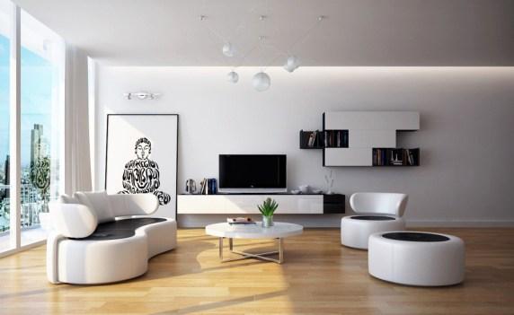 Stue med mindre møbler og parkett gulv