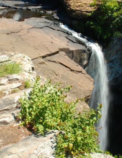 A photo of the lower falls taken with a longer exposure time to capture the flow of the water
