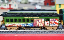 One of the cars on the train display features the Boy Scouts of America.