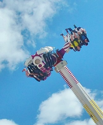 Another thrill ride on the Midway. Those are feet point toward the sky!