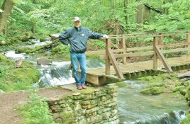 There are three foot bridges across Roaring Run on the way to the falls.