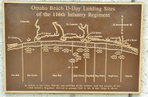 "This Brass Plaque Shows Omaha Beach. The ""Bedford Boys"" were assigned DogGreen Beach. D-1 Draw was the beach access that they were capture and use to move up off of the beach. It was heavily defended."