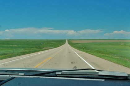 One of the stretches of straight road before crossing into Colorado.