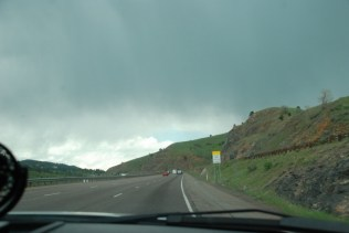 Starting up the mountain after leaving Denver. The rain started soon afterwards.